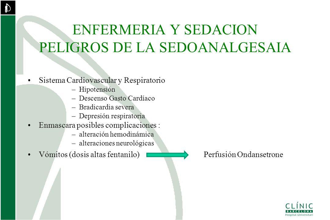 ENFERMERIA Y SEDACION PELIGROS DE LA SEDOANALGESAIA