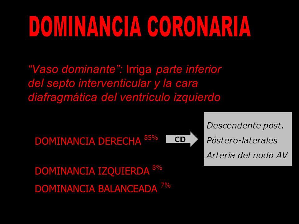DOMINANCIA CORONARIA Vaso dominante : Irriga parte inferior del septo interventicular y la cara diafragmática del ventrículo izquierdo.