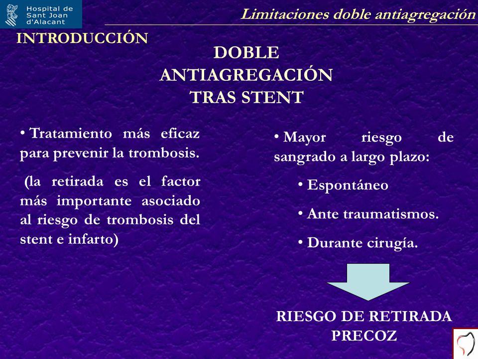 DOBLE ANTIAGREGACIÓN TRAS STENT RIESGO DE RETIRADA PRECOZ