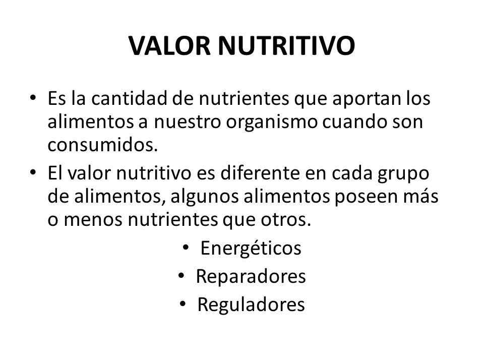 VALOR NUTRITIVO Es la cantidad de nutrientes que aportan los alimentos a nuestro organismo cuando son consumidos.