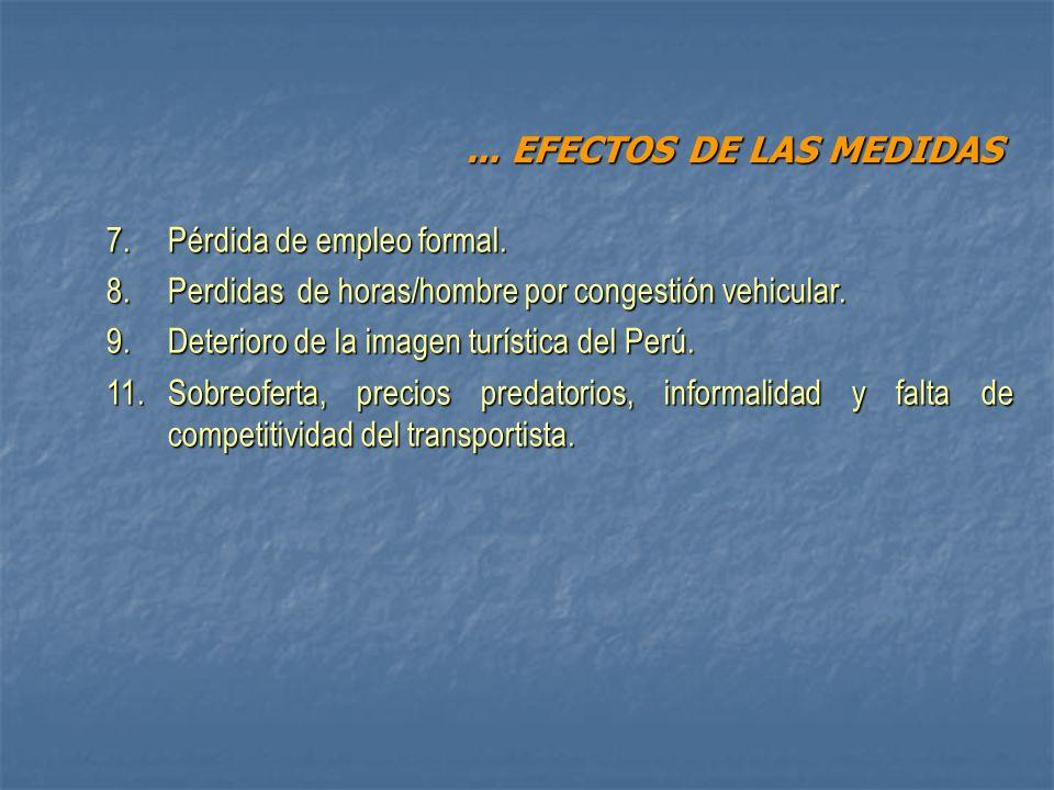 ... EFECTOS DE LAS MEDIDAS 7. Pérdida de empleo formal.