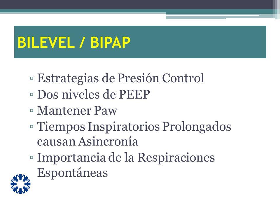 BILEVEL / BIPAP Estrategias de Presión Control Dos niveles de PEEP
