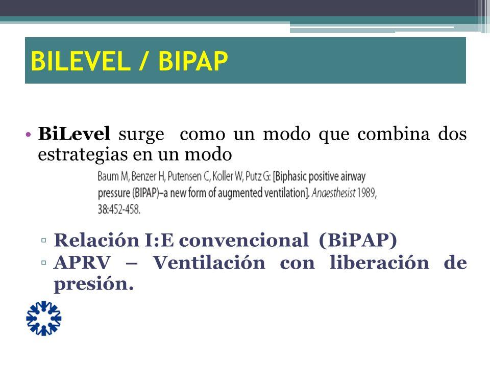 BILEVEL / BIPAP BiLevel surge como un modo que combina dos estrategias en un modo. Relación I:E convencional (BiPAP)
