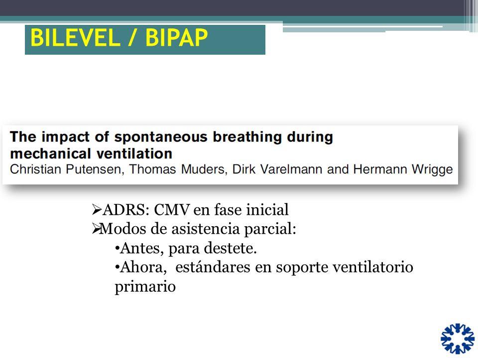 BILEVEL / BIPAP ADRS: CMV en fase inicial Modos de asistencia parcial: