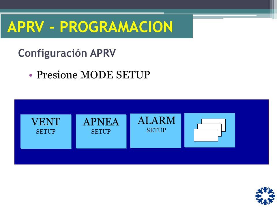 APRV - PROGRAMACION Configuración APRV Presione MODE SETUP VENT SETUP