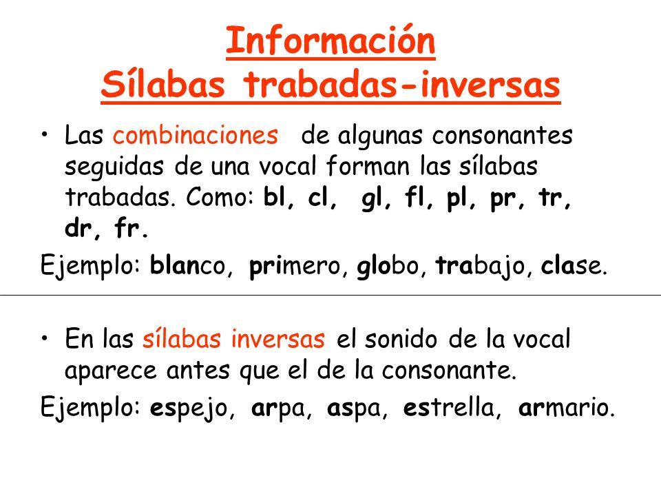 Información Sílabas trabadas-inversas