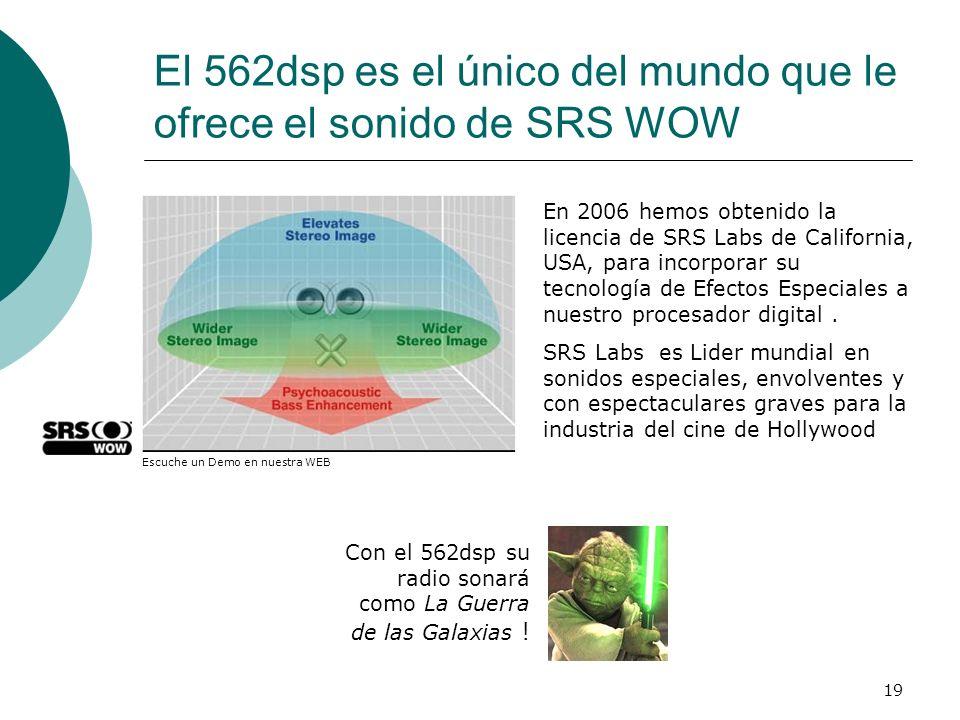 El 562dsp es el único del mundo que le ofrece el sonido de SRS WOW