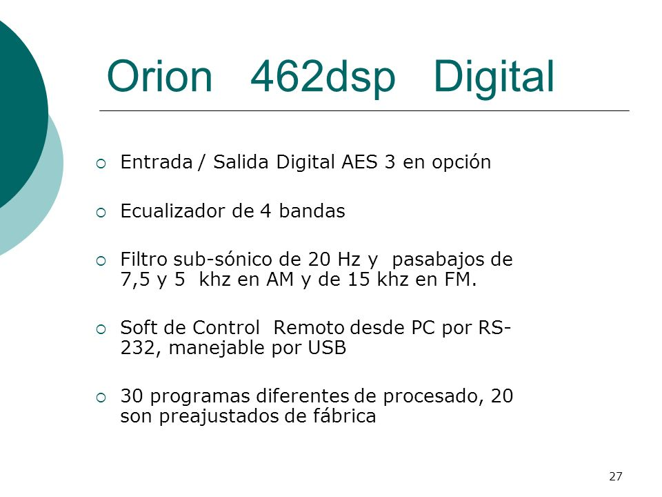 Orion 462dsp Digital Entrada / Salida Digital AES 3 en opción