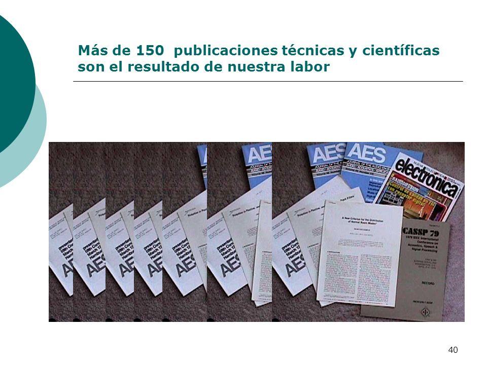 Más de 150 publicaciones técnicas y científicas son el resultado de nuestra labor