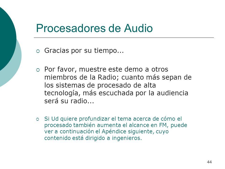 Procesadores de Audio Gracias por su tiempo...