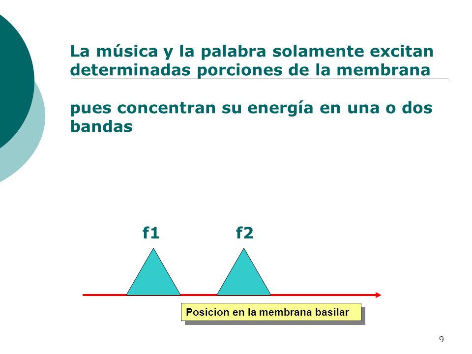 La música y la palabra solamente excitan determinadas porciones de la membrana pues concentran su energía en una o dos bandas