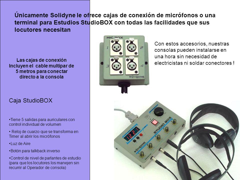 Únicamente Solidyne le ofrece cajas de conexión de micrófonos o una terminal para Estudios StudioBOX con todas las facilidades que sus locutores necesitan
