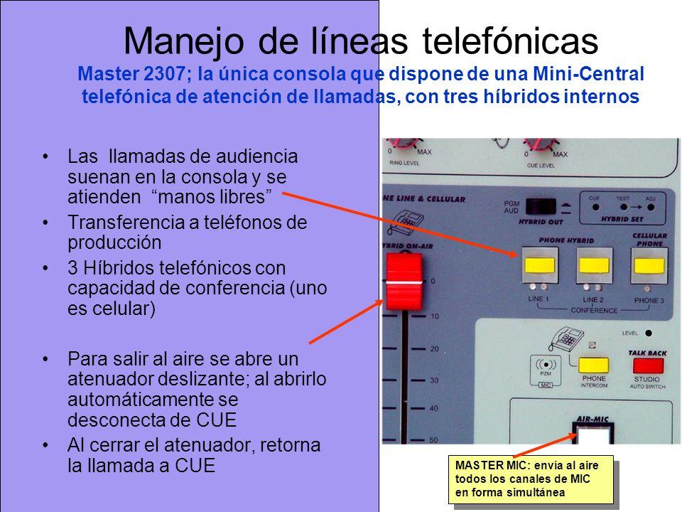 Manejo de líneas telefónicas Master 2307; la única consola que dispone de una Mini-Central telefónica de atención de llamadas, con tres híbridos internos