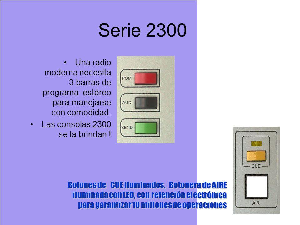 Serie 2300 Una radio moderna necesita 3 barras de programa estéreo para manejarse con comodidad. Las consolas 2300 se la brindan !