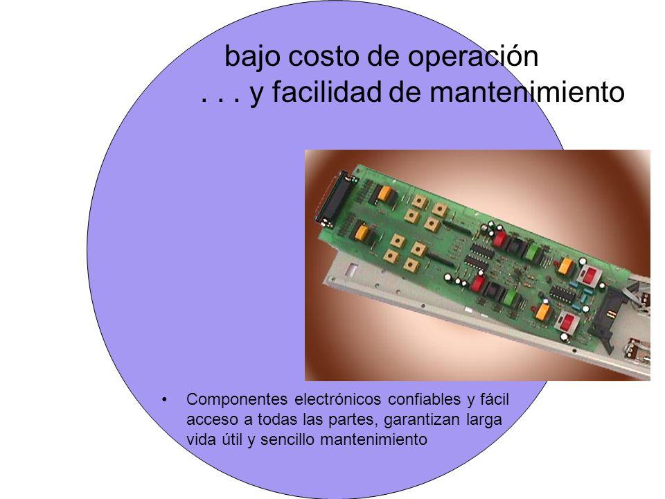 bajo costo de operación . . . y facilidad de mantenimiento