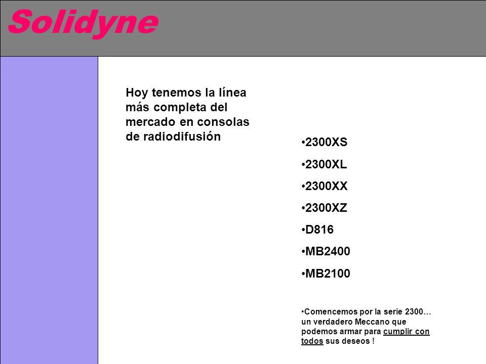 Solidyne Hoy tenemos la línea más completa del mercado en consolas de radiodifusión. 2300XS. 2300XL.