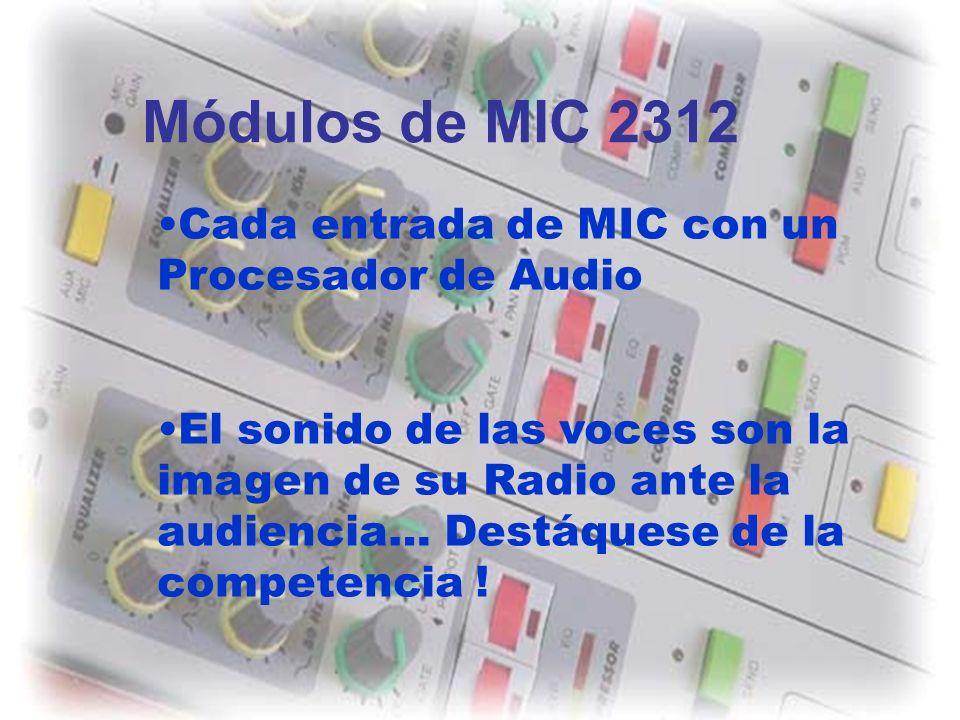 Módulos de MIC 2312 Cada entrada de MIC con un Procesador de Audio