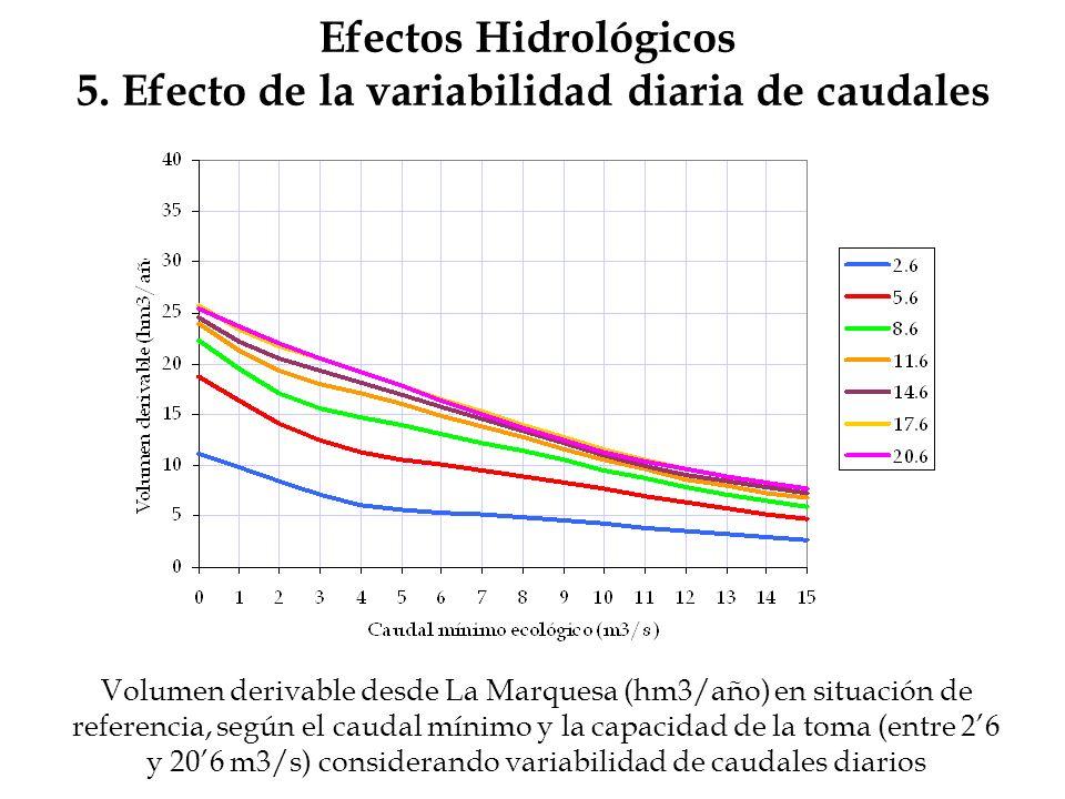 Efectos Hidrológicos 5. Efecto de la variabilidad diaria de caudales