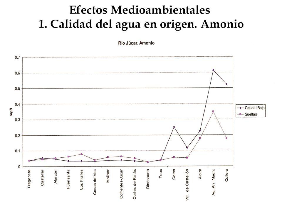 Efectos Medioambientales 1. Calidad del agua en origen. Amonio