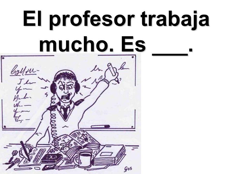 El profesor trabaja mucho. Es ___.
