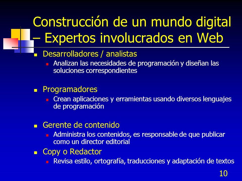 Construcción de un mundo digital – Expertos involucrados en Web