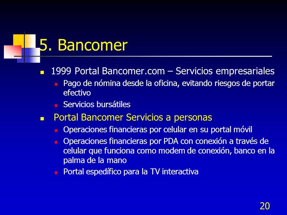5. Bancomer 1999 Portal Bancomer.com – Servicios empresariales