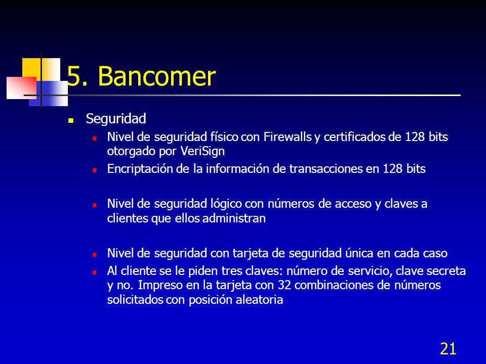 5. BancomerSeguridad. Nivel de seguridad físico con Firewalls y certificados de 128 bits otorgado por VeriSign.