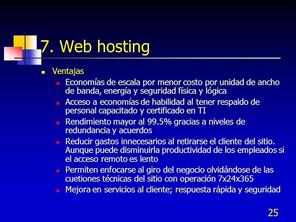 7. Web hosting Ventajas. Economías de escala por menor costo por unidad de ancho de banda, energía y seguridad física y lógica.