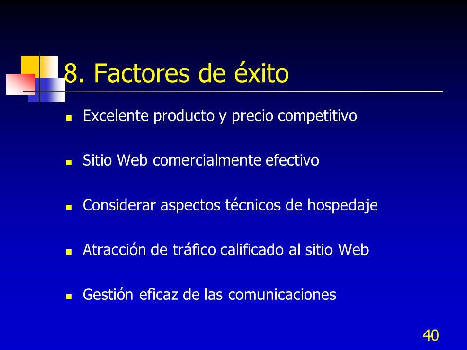 8. Factores de éxito Excelente producto y precio competitivo
