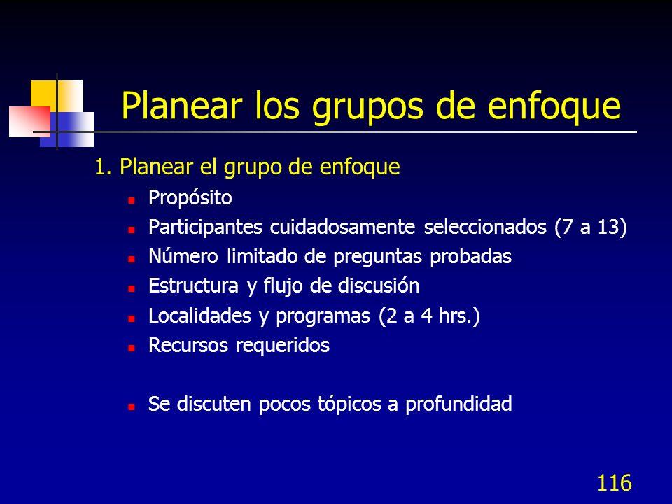 Planear los grupos de enfoque