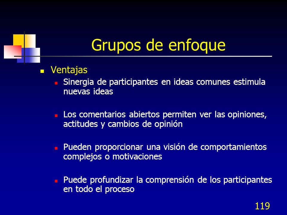 Grupos de enfoque Ventajas