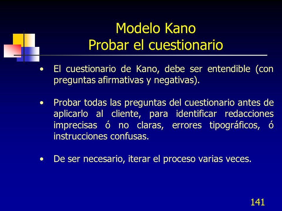 Modelo Kano Probar el cuestionario