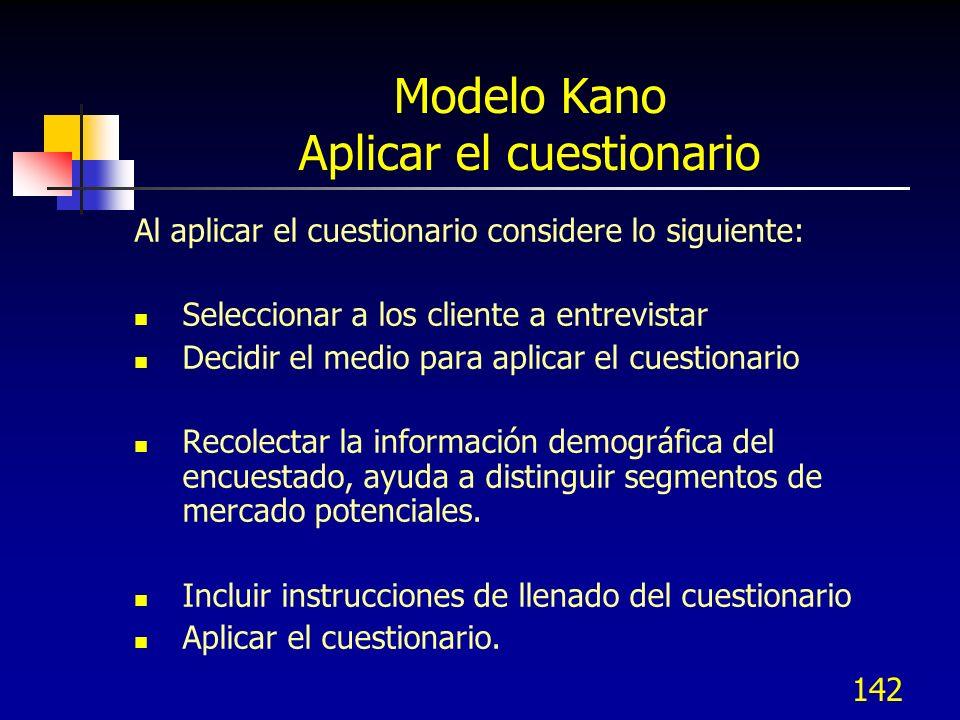 Modelo Kano Aplicar el cuestionario