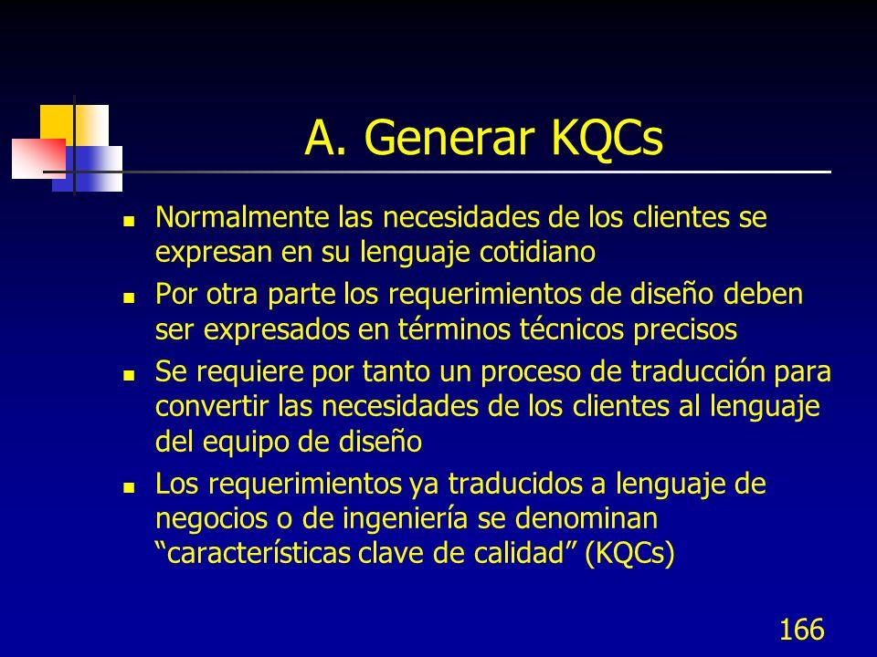A. Generar KQCs Normalmente las necesidades de los clientes se expresan en su lenguaje cotidiano.