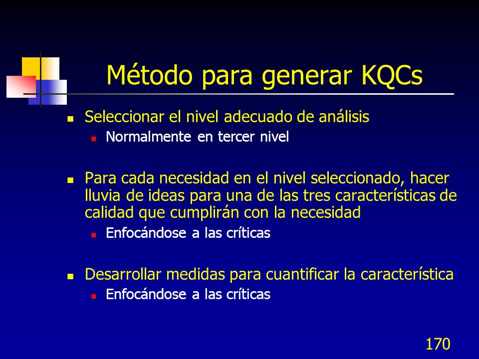 Método para generar KQCs