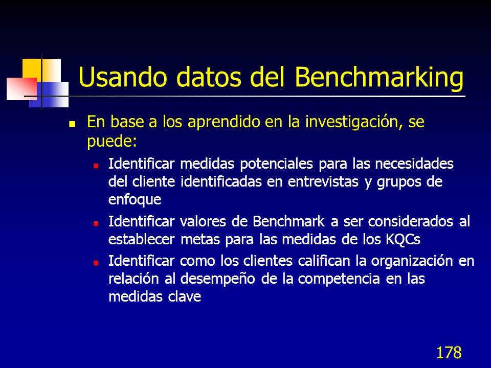 Usando datos del Benchmarking