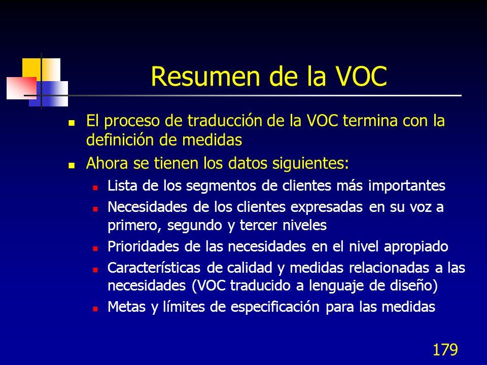 Resumen de la VOC El proceso de traducción de la VOC termina con la definición de medidas. Ahora se tienen los datos siguientes: