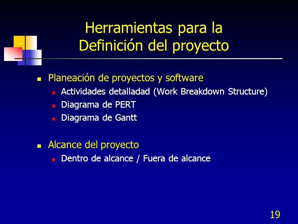 Herramientas para la Definición del proyecto