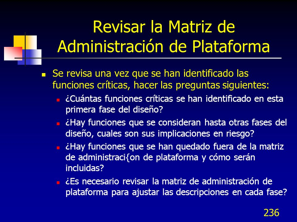 Revisar la Matriz de Administración de Plataforma