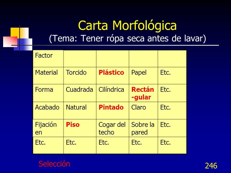 Carta Morfológica (Tema: Tener rópa seca antes de lavar)