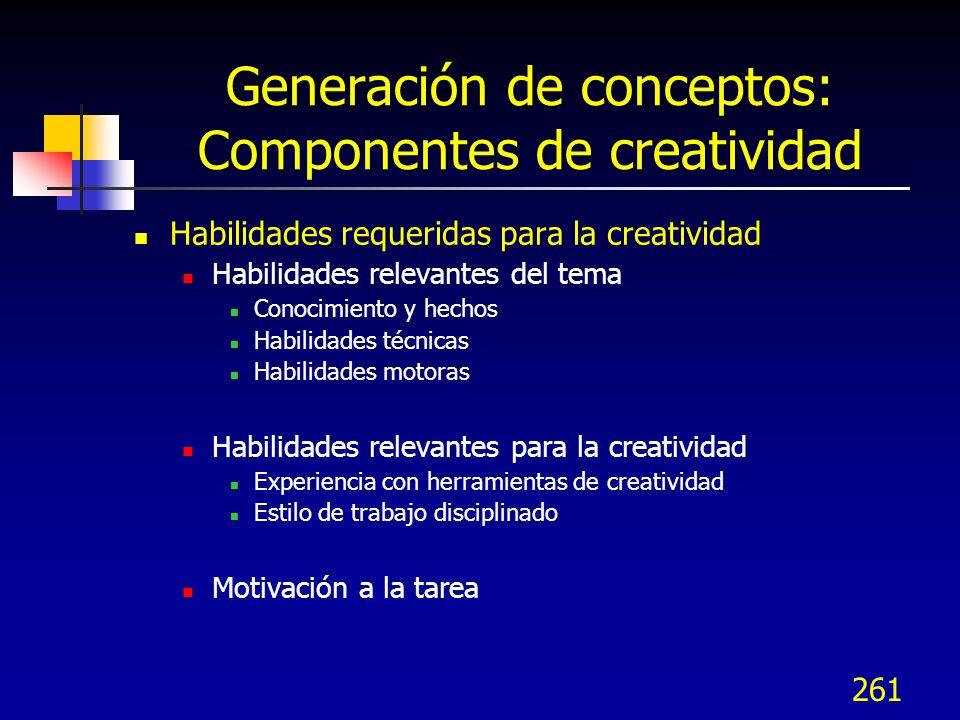 Generación de conceptos: Componentes de creatividad