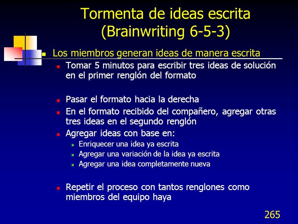 Tormenta de ideas escrita (Brainwriting 6-5-3)