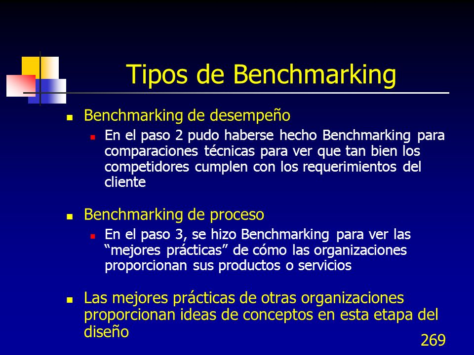 Tipos de Benchmarking Benchmarking de desempeño