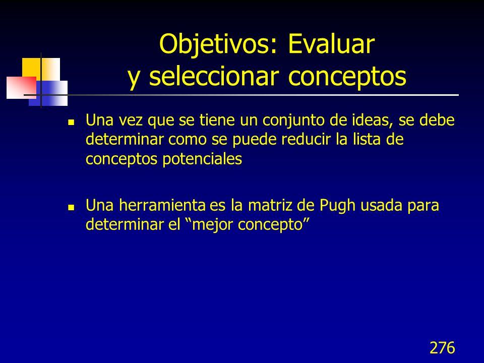 Objetivos: Evaluar y seleccionar conceptos