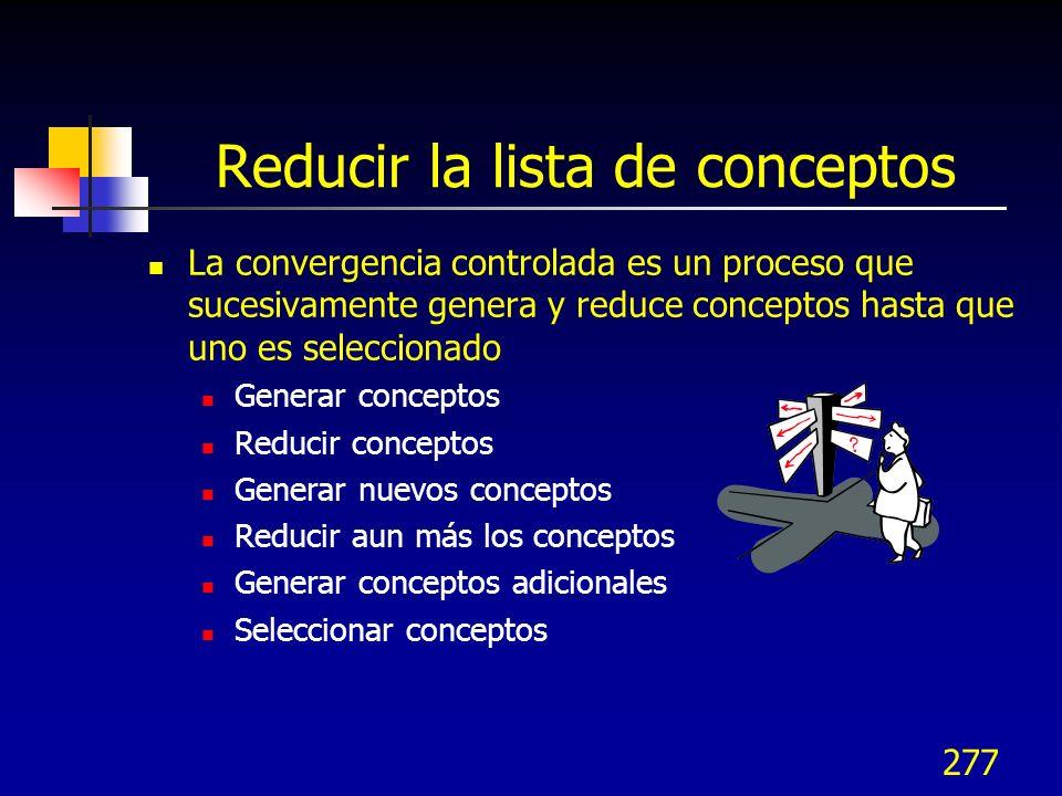 Reducir la lista de conceptos