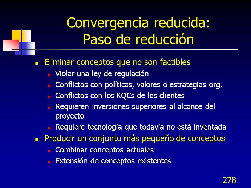 Convergencia reducida: Paso de reducción