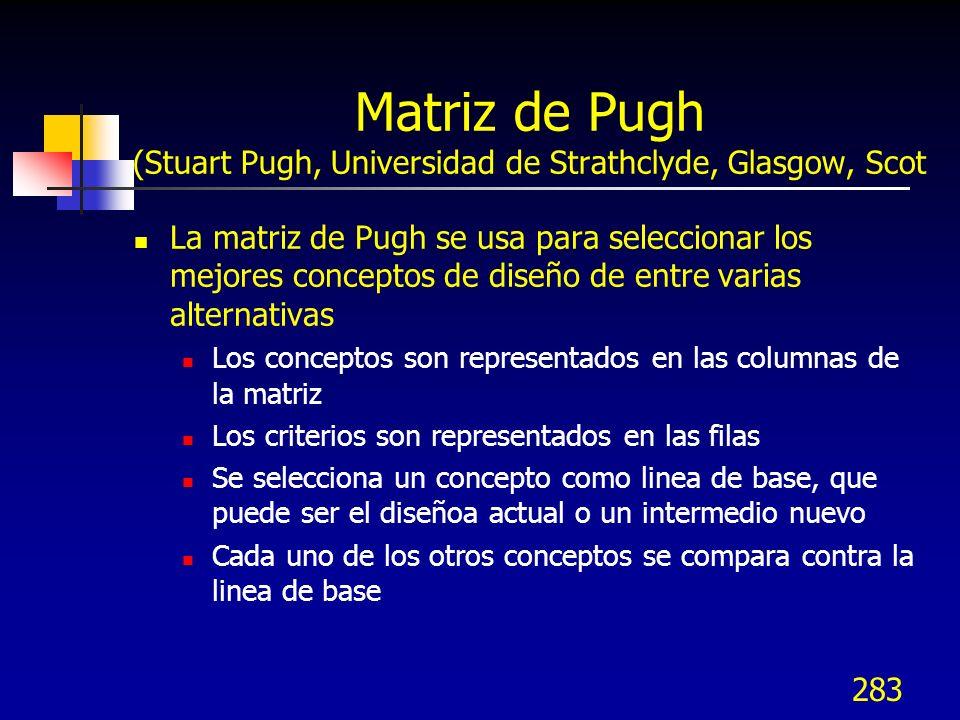 Matriz de Pugh (Stuart Pugh, Universidad de Strathclyde, Glasgow, Scot