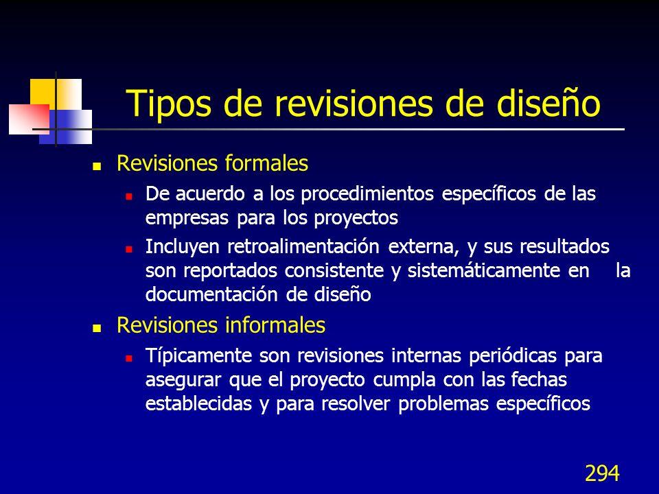 Tipos de revisiones de diseño