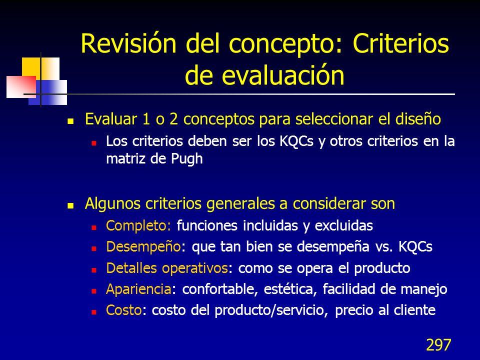 Revisión del concepto: Criterios de evaluación