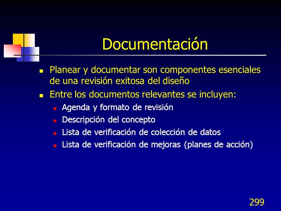 Documentación Planear y documentar son componentes esenciales de una revisión exitosa del diseño. Entre los documentos relevantes se incluyen: